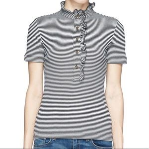 Tory Burch Navy Striped Lidia Polo Size Small